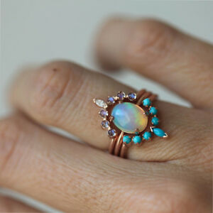 Real Opal Turquoise Moonstone 3 Combination layer Ring Set Solid 14k Yellow Gold