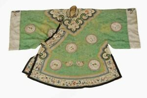 Embroidered Green Silk Robe with Medaillions - Very Ornate - 19th Century China