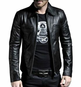 Men Genuine Leather Motorcycle Jacket Slim Fit Coat Collar straight Biker Cafe