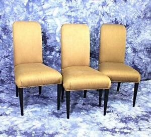 Three 3 Designer Side Accent Chairs Armchairs Dining Hollywood Regency Modern
