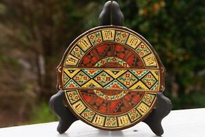 Peruvian Decorative 9quot; Signed Souvenir Plate: Hand Painted on Clay in Pisac Peru