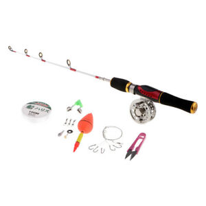 Spinning Ice Fishing Rod and Reel Combo with Line Float Scissor Hook Sinker