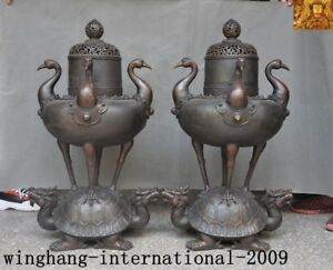 Rare China Buddhism bronze Dragon turtle Crane bird Incense burner Censer statue