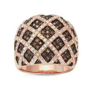 Gioelli Rose Gold Plated Sterling Silver Mocha Cubic Zirconia Pave Cocktail Ring
