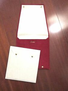 CARTIER New Red Sueded Necklace Chain Display Travel Pouch Holder Case