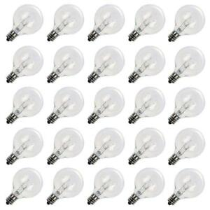 25 Pack G40 Outdoor Patio Globe Replacement Bulbs Clear C7 E12 Base Patio Lights