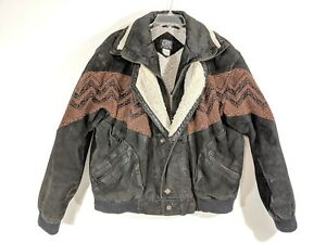 SCORPIO USA Mens Large Leather Outdoor Jacket Coat Sherpa Collar Snaps Aztec