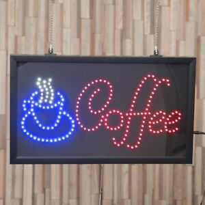 Coffee Shop Window Sign Lighted LED Restaurant Signage 22 x 13 In 3 Display Mode