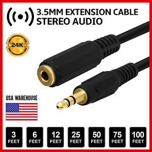3.5mm Audio Extension Cable Stereo Headphone Cord Male to Female Car AUX MP3 lot