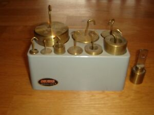 Vintage Ohaus 10 Pc. Solid Brass Balance Scale Weight Set w Holder