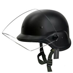 Tactical Military Airsoft M88 PASGT Kelver Swat Helmet with Clear Visor Black