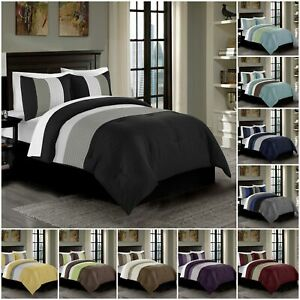 Chezmoi Collection Harper 3 Piece Luxury Striped Pleated Bedding Comforter Set