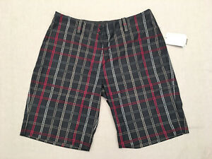 NIKE Women's Fit Dry Golf GreyRedWhite Plaid Shorts Size 14 NWT MSRP $70
