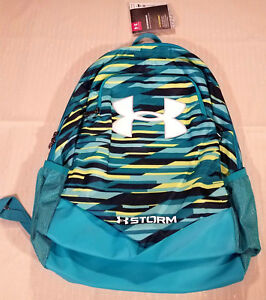Under Armour Storm Scrimmage Laptop Backpack Striped Teal Blue Boys 1277422-448