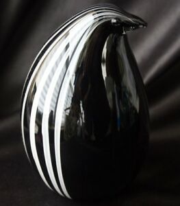 Black & White Striped Penguin Murano Glass Italy
