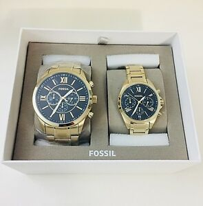 NWT Fossil Couple Watch His & Her Gold SS Bracelet GRANT BQ2400 BQ2400SET $265