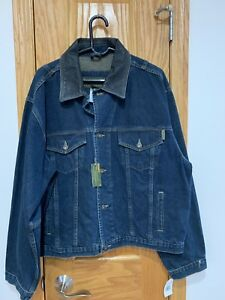 Timberland Weathergear Denim Jean Jacket Leather Collar Large Heavy Duty Cycle