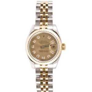 Pre-owned Rolex Women's Datejust Steel and Gold Jubilee Band Champagne Diamond
