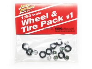 Johnny Lightning Wheel and Tire Pack #1 (8 Tires8 Wheels) 1:64 Scale