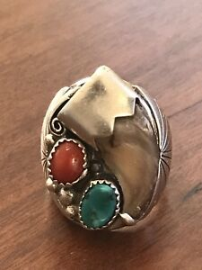 Native American Vintage Old Pawn Sterling Silver Turquoise Coral Claw Ring Sz 9