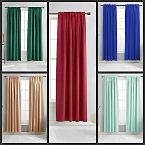 2PC FAUX SILK PANELS BLACKOUT FOAM BACKING WINDOW CURTAIN MIX COLOR NEW ANYY $10.00