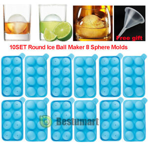 10Set 20PCS Round Silicon Ice Cube Balls Maker Tray 8 Large Sphere Molds Bar New
