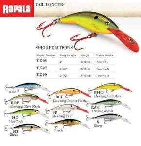 Rapala Tail Dancer TD07 7cm 9g Fishing Lures Choice of Colors