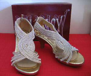 DELICACY Rhinestone & Gold Heels SZ. 8 sexy party shoes with ex.heel replacement