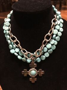 NWOT Susan Shaw Three-strand Turquoise And Silver Cross Necklace