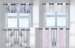 FLORAL PRINTED BRONZE GROMMET LINED BACKING WINDOW CURTAIN PANEL PRIVACY SET