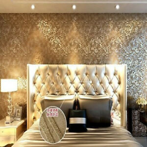 Deep Embossing Of High Texture Wallpaper Roll Coffee Color Bedroom 0.53m*10m
