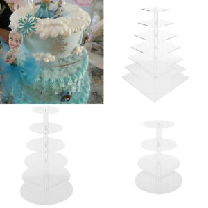 4567 Tier Acrylic Glass Square Round Cupcake Stand Clear Cake Stand for Party