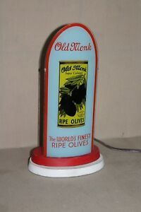 #2 SCARCE 1930's OLD MONK RIPE BLACK OLIVES REVERSE GLASS BULLET LIGHTED SIGN