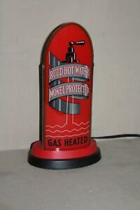 #2 SCARCE 1930's RUUD HOT WATER HEATER DEALER  REVERSE GLASS BULLET LIGHTED SIGN
