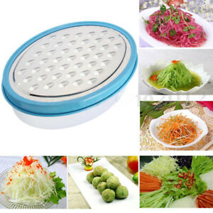 Stainless Steel Grater Food Vegetable Cheese Slicer With Container Box Blue