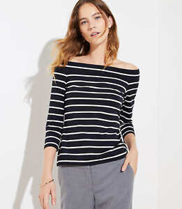 NWT Ann Taylor LOFT Off the Shoulder Tee White Gray or black and white striped $17.00