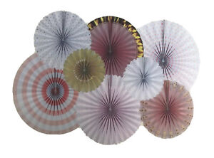 8Pcs PINK & GOLD Cardstock Paper Fans Flower Party Birthday,Baby Girl,Decoration