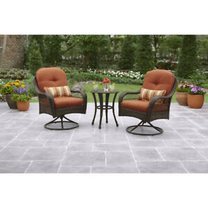 3 Piece Patio Set Wicker Outdoor Bistro Table 2 Chairs Seat Cushions All Weather
