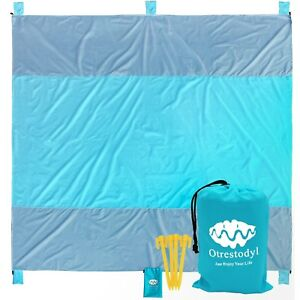 Otrestodyl Sandproof Beach Blanket 9'x10'  Extra Large Packable Waterproof Mat