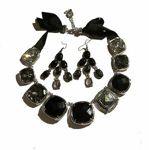 Vera Wang Black Grey crystal chunky necklace earring set NWT
