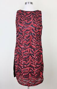 Eva Franco Sequin Dress Size 6 Formal Cocktail Red Party Sparkly Sheath Shift