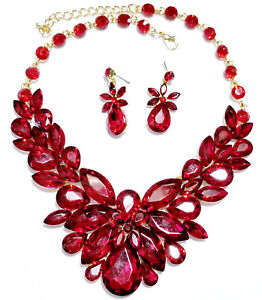 Red Rhinestone Crystal Choker Statement Necklace Earring Set Pageant Prom