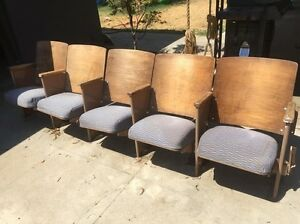 Vintage Theater Seats Five Chairs Fold Down Modern Bench Row FREE CA PICK UP