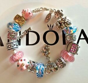 Authentic PANDORA Bracelet w European Charms Murano Beads size 7.5 MOM BIRTHDAY