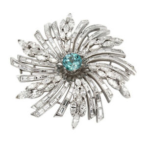 Diamond and Blue Zircon Brooch Pin in Platinum  FJ-B