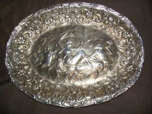 Huge Rare Paul Storr Georgian Sterling Silver Wonderfully Embossed Charger 1822