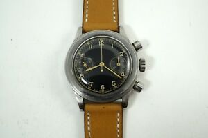 EARLY 1950'S CHRONOGRAPH GILT BLACK DIAL STAINLESS STEEL WATERPROOF CASE COOL