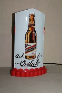 SCARCE 1930's ORTLIEB BEER REVERSE GLASS BULLET LIGHTED SIGN