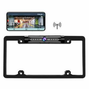 Digital Wireless Car Rear View Backup License Plate Frame Camera For IOS Android