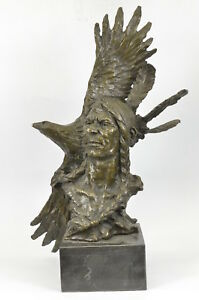Native American Gift Indian Chief South western Bronze Bust Sculpture Statue Dea